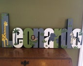 Custom Hand Painted Boys Jungle themed Name Sign - Nursery Wall Letters Name Sign - Wood Wall Letters Boy Style
