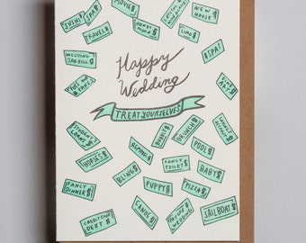 "Letterpress card,  ""Happy Wedding  (Treat Yourselves)!"""