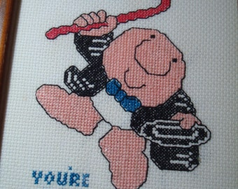 1970s ZIGGY You Are Not Getting Older You Are Getting Better Cross-stitch  Framed Art.