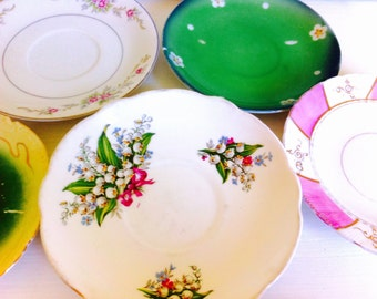 Mismatched China Saucers, Set of 5,Pink & Green, Romantic Wedding China