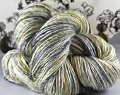 Handspun Yarn Gently Thick and Thin Single Fine Merino and Bombyx Silk 50/50 'Bhuton'