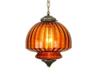 Hollywood Regency Italian Glass Swag Lamp Amber Optic Stripe