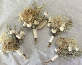 Rustic Dried Flower Boutonniere Corsage SET OF 4 - fall winter wedding woodland scabiosa berries ivory white mens buttonhole vintage groom
