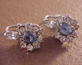Rhinestone Clip On Earrings Blue and White Rhinestones