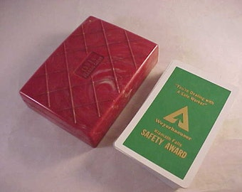 Tower Plastic Cards Red Marbled Plastic Playing Cards Box with Advertising Deck of Cards