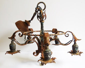 Antique chandelier 5 socket Gothic Cast iron canopy Decorative Rusty chippy hanging ceiling light restoration salvage
