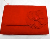Vintage Red Suede Clutch Purse with Red Suede Flower Detail and Gold Chain for Special Occasion Winter Holiday Christmas or Valentines Day