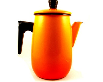 Aubeco French Enamelware Coffee Pot - Orange Ombre - Retro Coffee Pot - Made in France - French Enamelware