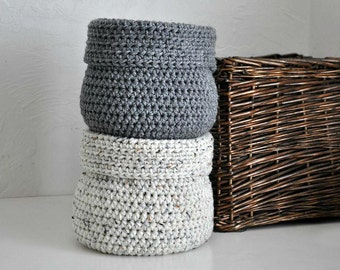 2 Baskets Catchall Storage Bins Modern Decor Contemporary Design Log Cabin Decor Custom Colors