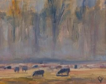 Cow painting, Sheep in field, Landscape, farm animals, misty, foggy, pastel, sunset, sunrise, animals, farmhouse, 5x7, Original wall decor