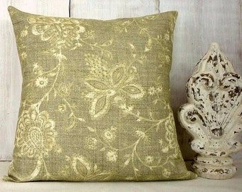 Linen-Like Sage Green Pillow Cover - Floral Pillow Cover - Sage Green and Tan Pillow - Green Throw Pillow - Green Flowered Pillow