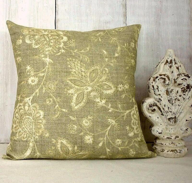Sage Green Throw Pillow Covers : Linen-Like Sage Green Pillow Cover Floral Pillow Cover