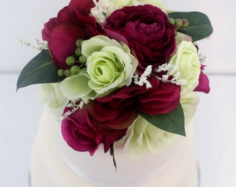 Wedding Cake Topper - Green, Magenta Rose and Hydrangea Silk Flower Wedding Cake Topper, Wedding Cake Flowers, Rustic Wedding Cake Topper