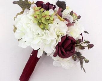 Bridal Wedding Bouquet - White Peony, Rose, Hydrangea, Olive Green, Burgundy Flowers, Hypericum Berries Brides Wedding Bouquet