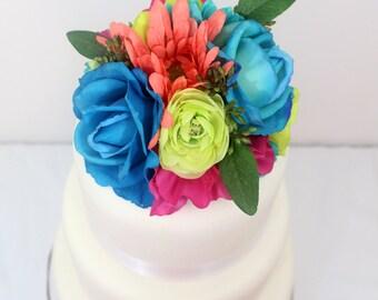 Tropical Wedding Cake Topper - Blue Rose, Green Ranunculus, Coral, Aqua Daisy Silk Flower Wedding Cake Topper, Destination Wedding