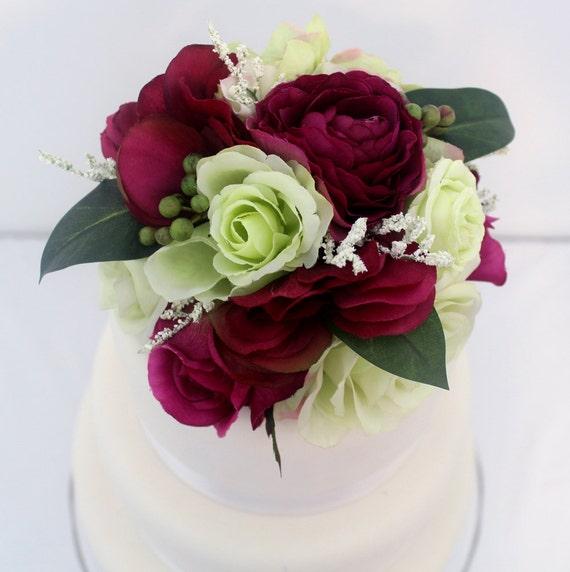 Silk Flower Wedding Cake Toppers: Items Similar To Wedding Cake Topper