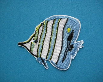 Sale~ Iron-on embroidered Patch Striped Fish 2.75 inch