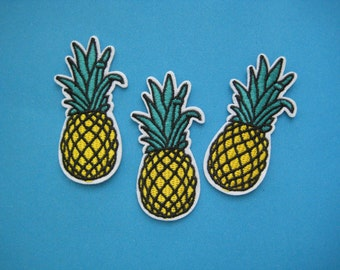 3 pcs Iron-on Embroidered Patch Pineapple 2.6 inch