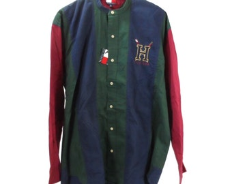 Tommy Hilfiger 90s Color Block Button Down Shirt Orignal Tags