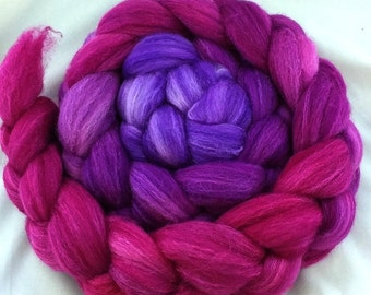 "Hand Dyed Merino/SW Merino/Tussah Silk  4 oz. ""Summer Berries Gradient"""