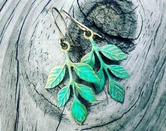 Verdi-Gris Leaf Earrings