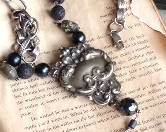 upcycled vintage pewter dress clip pendant~mixed media assemblage necklace onyx beads