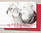 "Christmas card, Photo Christmas card, Holiday Card, Printable Christmas card, Modern Christmas card (""Merry"")"