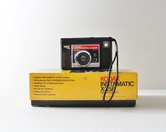 back to school sale // Vintage 70s Kodak Instamatic X-35F Brown Camera w Original Box - not tested, home decor, made in America