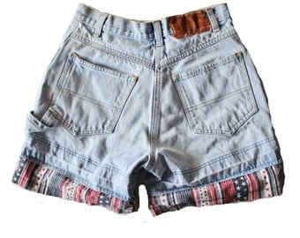 Vintage 90s July 4th ESPRIT Denim Shorts Women S // button fly, stars and stripes