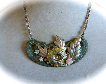 OOAKNeo-Victorian Art Nouveau Style Short Assemblage Pendant Necklace Vintage Repurposed Escutcheon and Layered Flowers