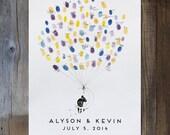 Wedding Guest Book Alternative, Moon Balloon Couple, unique Guest Book, custom guestbook, guestbook ideas, fingerprint tree, thumbprint tree