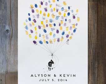Wedding Guest Book Alternative, Moon Balloon Couple, unique Guest Book, custom guestbook, guestbook ideas, fingerprint tree, thumbprint tree