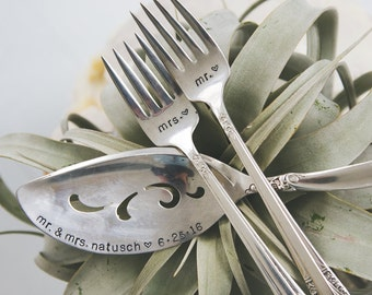 Vintage Wedding Cake SET: Hand Stamped I Do, Me Too cake forks & Personalized Wedding Cake Server . As Seen in Bella NYC Magazine