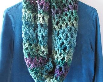 Multi Color Crocheted Cowl