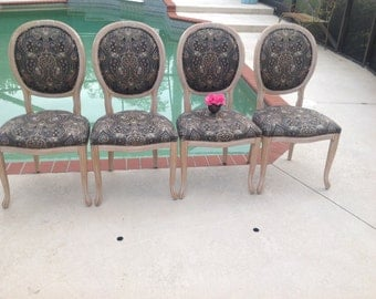 CARVED DINING CHAIRS /Set of 4 Carved Dining Chairs / Hollywood Regency Carved Wood Palmate Chairs / Faux Bois Style at Retro Daisy Girl