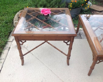 FAUX BAMBOO FRETWORK Side Table / Faux Bamboo Table /  Fretwork Chippendale Style Table / Chinoiserie Style at Retro Daisy Girl