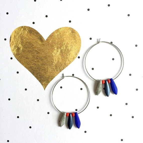 Hoop earring, ear, brass, nickel free, two sizes diameter possibilities, oval, glass bead, blue, grey, les perles rares