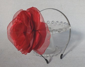 Thin Black Headband with Oversized Flower in Red Satin & Organza