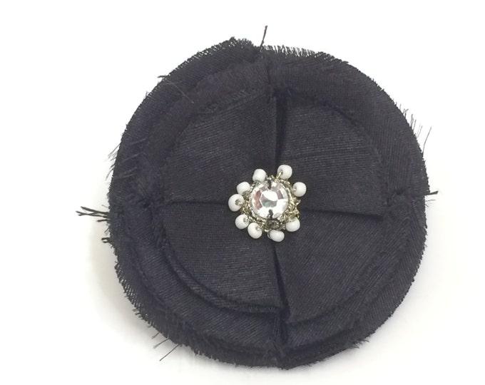 "Dog Collar Flower, Flower for Collar, 3"" Black Poppy Fancy Flower for Collar, posh Dogs or cats Dog Wedding Accessory"
