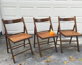 CANE FOLDING CHAIRS Made in Italy Wood and Cane Chairs, Cane Seat, Mid Century Modern, Tiny Home Living at Modern Logic