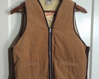 Deadstock Vintage 1970's fleece lined Corduroy zip up Work Vest size Large Tan brown knit sides Rough Rider made in Canada
