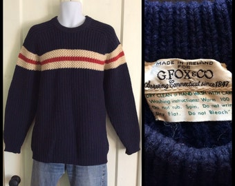 1950's Thick Knit Irish Sweater made in Ireland for G. Fox and Co. Navy Blue with Cream and Rust Red Stripes looks size L Low Gauge Knit