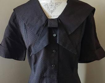 SALE Vintage 40s Bow Brown Dress