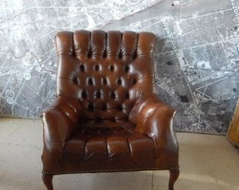 Tufted chair vinatge mcm mid century club accent arm faux leather