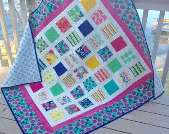 Simply GOOD KARMA 54x60 quilt in bright, happy colors