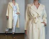 70s IVORY WOOL TRENCH Coat vtg Double Breasted Cream Off White Woven Belted Midi Foxland xs Small 1970s