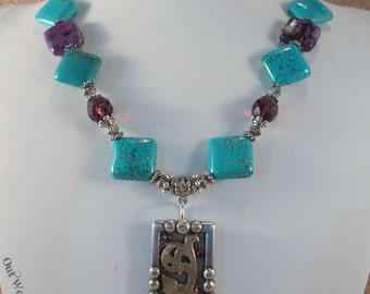 Western Cowgirl Necklace Set - Chunky Aqua Howlite Turquoise and Purple Sugalite - Concho Pendant