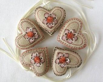 5 linen ornaments - small linen hearts - cream, peach, white