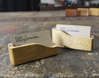 reclaimed oak business card case