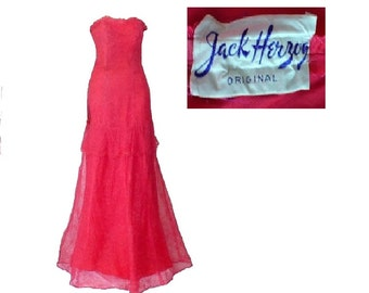 S Vintage 1930s Formal Gown by Jack Herzog, Small Pink Lace Strapless Dress